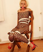 Polish blondie is chair-tied and ball-gagged