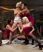 Bride hijacked by her bridesmaids, bound and double penetrated