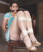 Roped on the chair and cleave-gagged