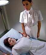 Hot brunette is shocked and strap-on fucked by nurse