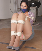 Beauty roped, otm-gagged and exposed