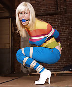 Blond gets tightly roped and ball-gagged