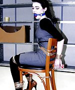Hot brunette chair-tied and ball-gagged