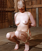 Undressed, roped, clamped and humiliatingly trained with dildo