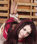 Roped and cleave-gagged with her pantyhose